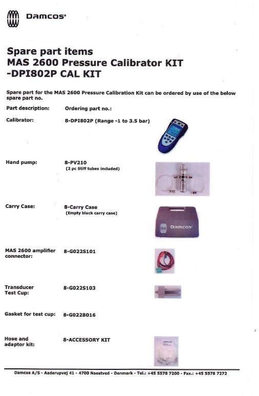 8-DPI Calibration Kit Parts