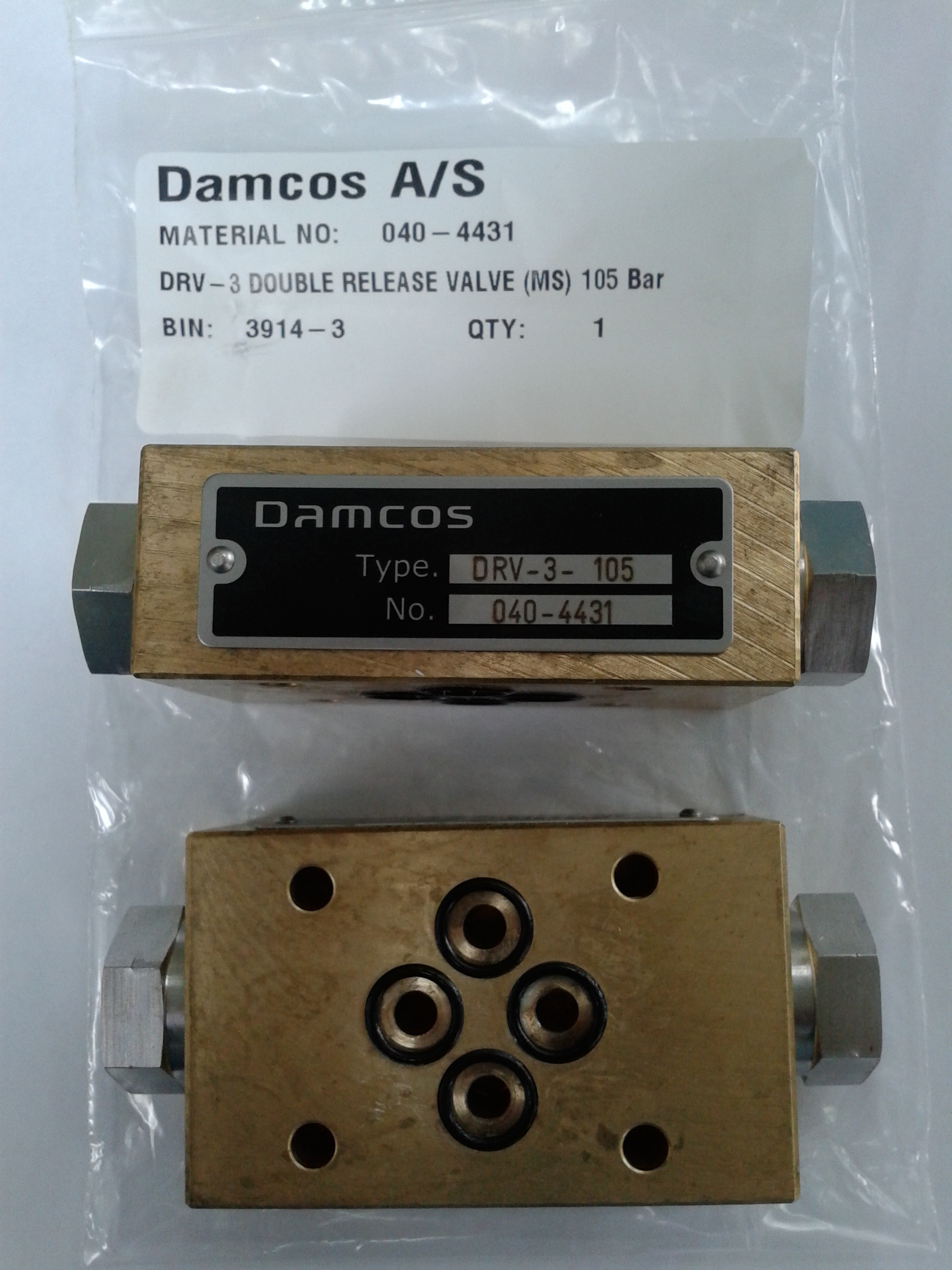 DRV-3 Double Release Valve (MS) 105 Bar (Part No- 040-4431)