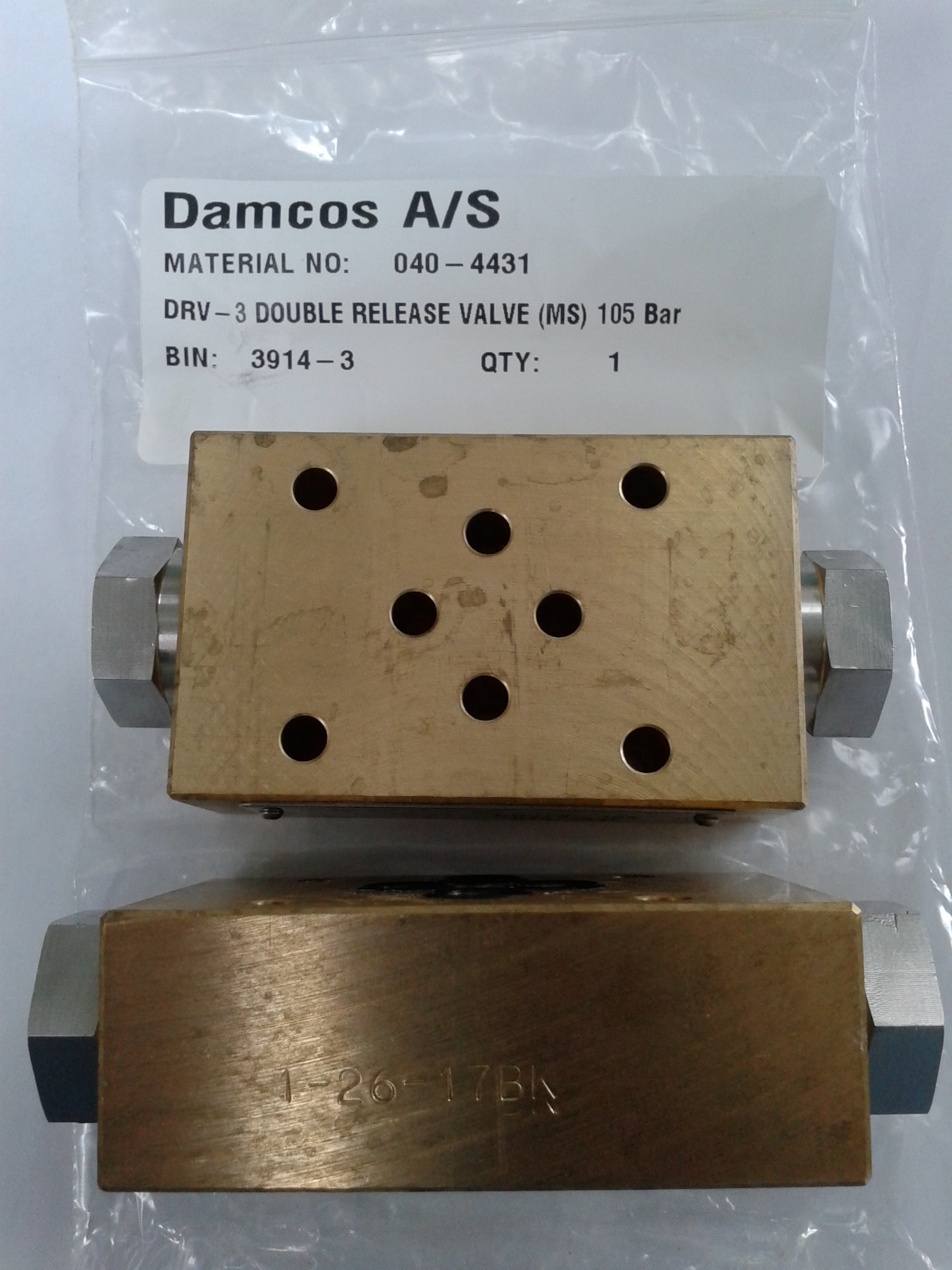 Damcos: Danfoss : Superfos DRV-3 Double Release Valve (MS) 105 Bar (Part No- 040-4431)