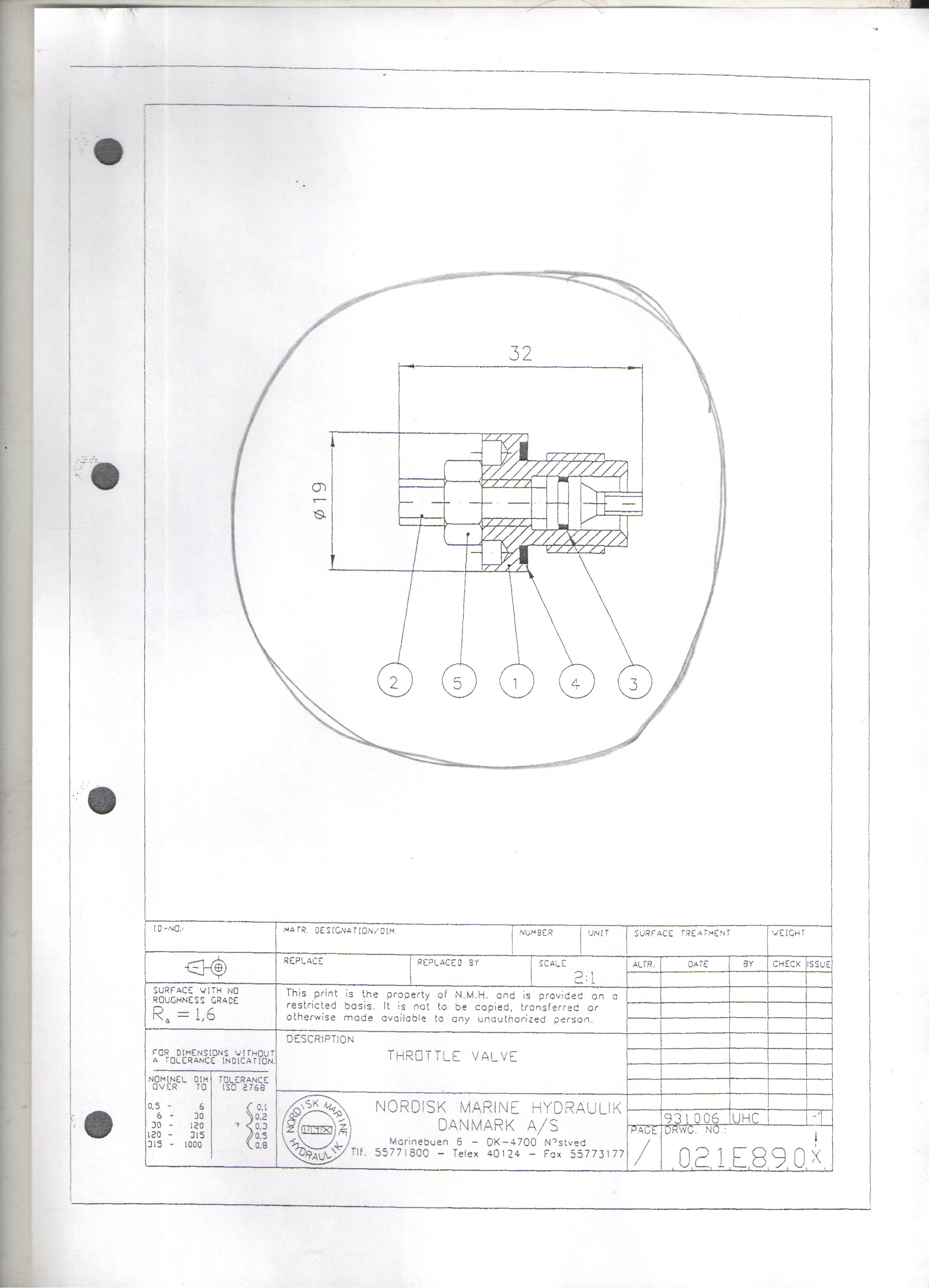 Throttle 021E8901 9021-8901 Drawing