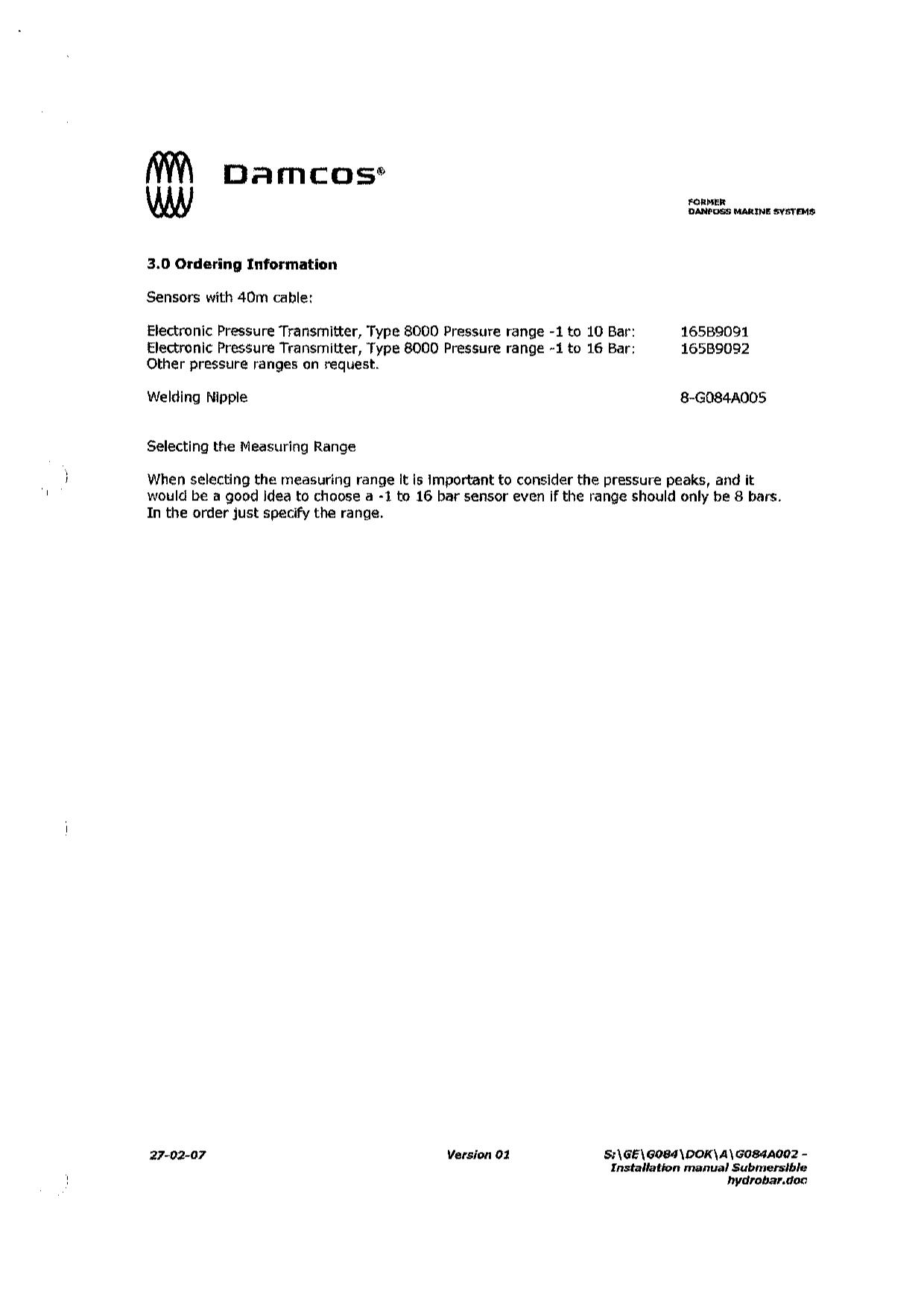 pressure transmitter Data sheet