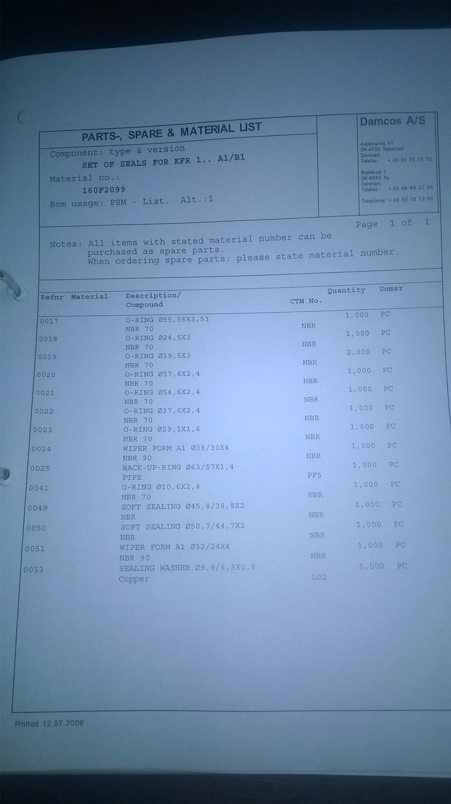 160F2099 Parts list