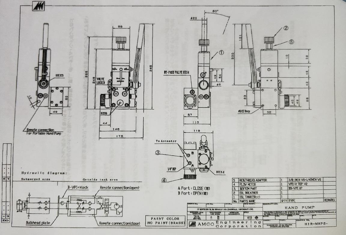 Drawing 160G5116 Hyd Pump HIR MHPS