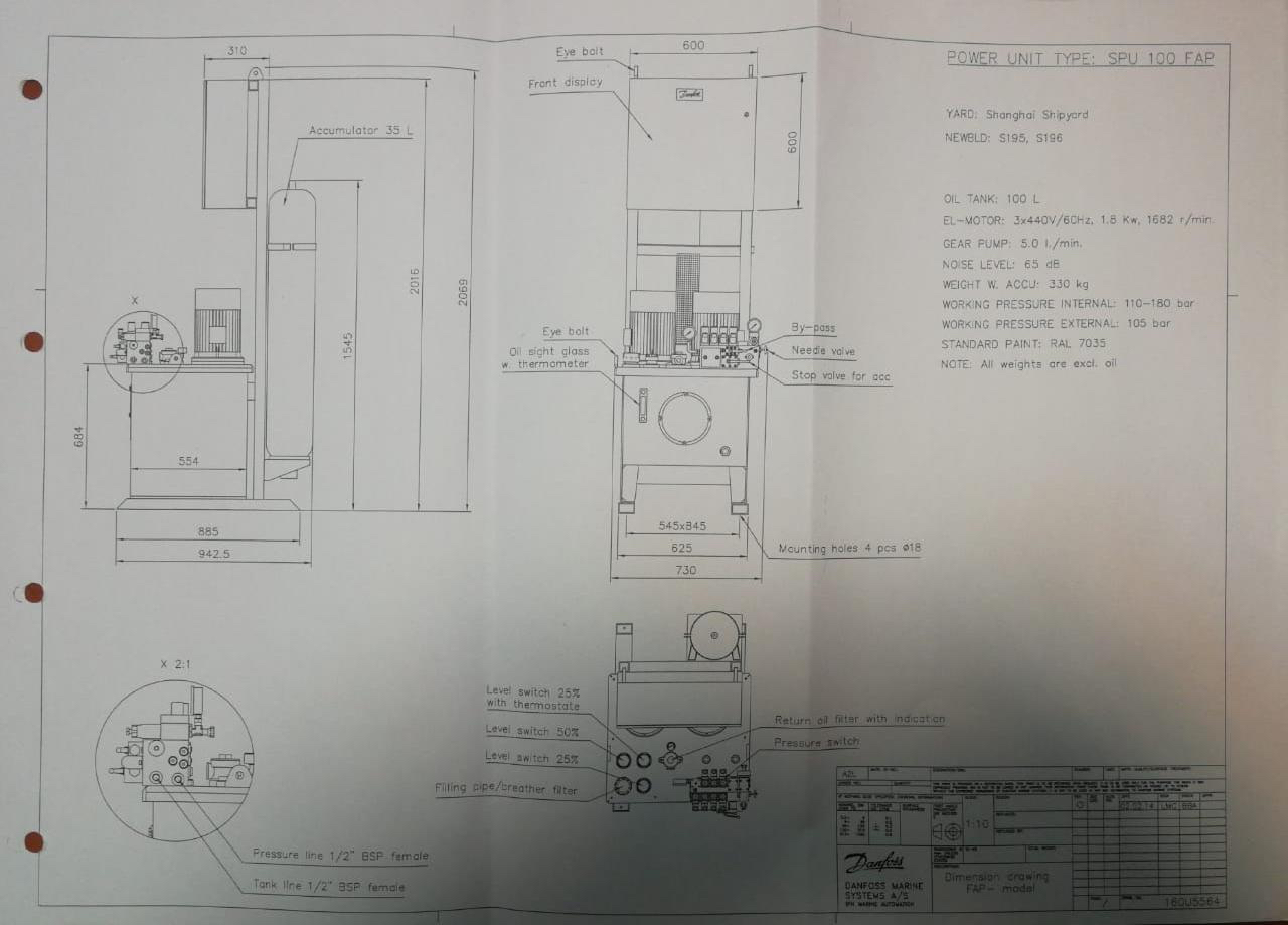 SPU 100 FAP power unit Drawing