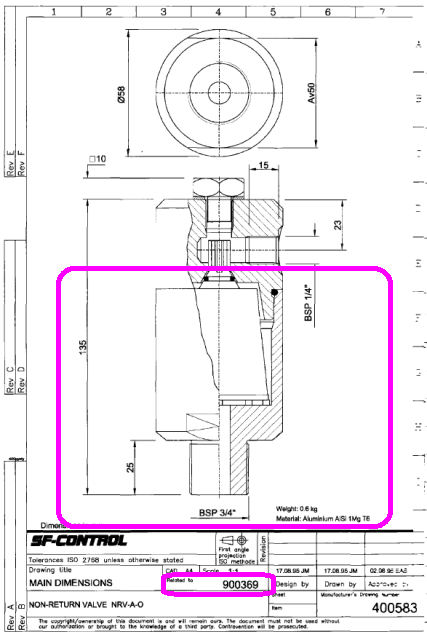 NRV-A-0 non return valve.Drawing 1 400583